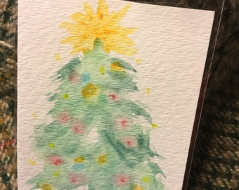 ACEO trading card watercolor Christmas Tree miniature art Free shipping In the U.S.
