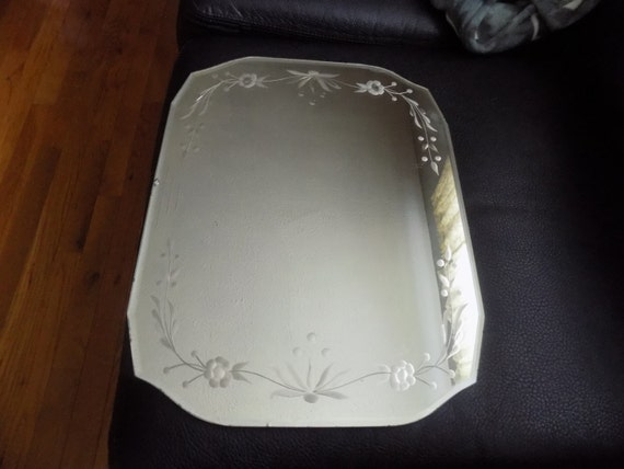 Antique Frameless Etched Floral Mirror With Beveled Edges