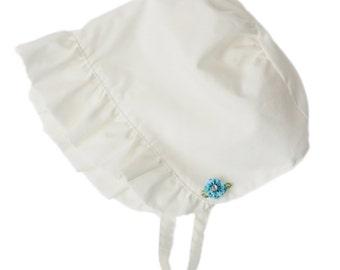 Vintage style heirloom bonnet with blue flower