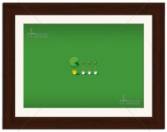 Minimalistic Funny Pacman Video Game Retro Photographic Print - Various Sizes - Gift Idea