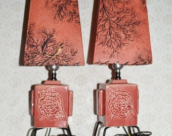 Mid Century Pink Rose Lamps ~ Lamp Set ~ Vintage Lighting ~ Table Lamps ~ Epsteam