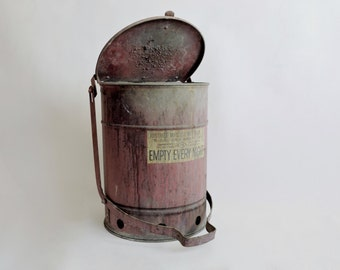"""Industrial Red 1930's JustRite MFG """"Empty Every Night"""" Waste Can."""