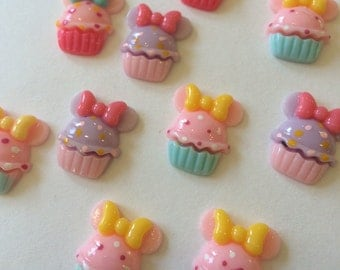 Rainbow Colorful Cupcake with Mouse Ears Resin Cabochons Lot with Flat Back 10 Pcs