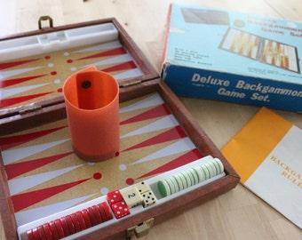 Small Vintage Brown Velvet and Vinyl Travel Case beautiful Backgammon Set, travel backgammon