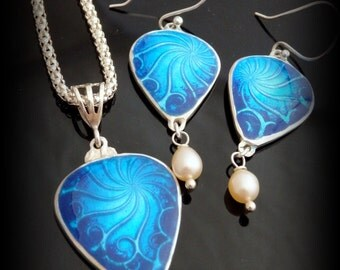 Recycled Fine Silver, Basse-taille Enameled, Pendant and Earrings Set, Fresh Water Pearls,Gift, Eco Friendly