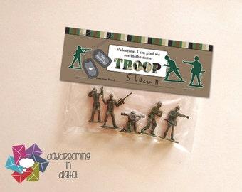 INSTANT DOWNLOAD -Digital File - Army Men Valentine Treat Bag Topper- Printable