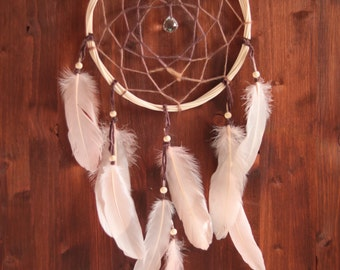 Dream Catcher - Floral Dreams - With Sparkling Crystal Prism and Light Rose Feathers - Boho Home Decor, Nursery Mobile