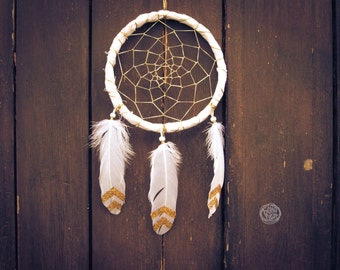 Dream Catcher - Golden Magic - With White Frame, Sparkling Web and Handpainted Sparkling Feathers - Mobile, Boho Home Decor, Decoration