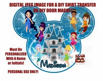 Digital Fairies Shirt Iron On – Fairies Iron On Transfer – DIY Disney Shirt or Magnet