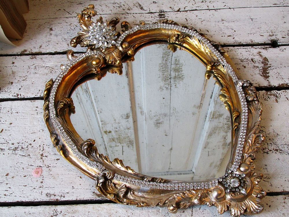 Gold Metal Wall Mirror: Ornate Heart Mirror Wall Hanging Vintage Gold Silver Wood