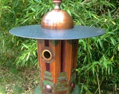 RESERVED FOR LINDA: Deco Dome, Art Deco Birdhouse Handmade from Recycled Wood, Metal and Found Objects