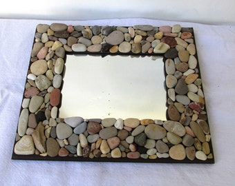 Beach Rock Mirror 9x11, Rustic Beach Frame, Coastal Home Decor (MADE TO ORDER) Photos, Memories, Vacation home