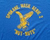 Vintage 1980s Fraternal Order of Eagles Spokane WA Blue T-Shirt XL Hanes 50 50 Cotton Poly Blend