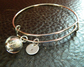 Personalized Initial Dandelion Seed Make A Wish Bangle Bracelet.Adjustable.Gift