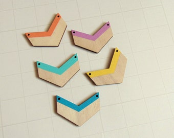 Chevron Laser cut, Hand painted Wood Chevrons, Do it Yourself Necklace