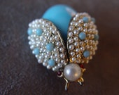 RESERVED for Lynette Vintage Pearl and Turquoise Insect Fly Cute as a Bee