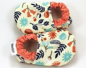 flower baby shoes, coral and peach, flower shoes for girl, soft sole shoes baby girl shoes toddler shoes baby