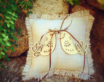 Love Birds Ring Bearer Pillow Wedding Ring Bearer Pillow Rustic Ring Bearer Burlap Wedding Ring Pillow