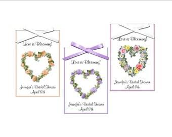 Seed packet bridal favors -floral hearts, floral theme wedding favor, bridal shower favors, - set of 12