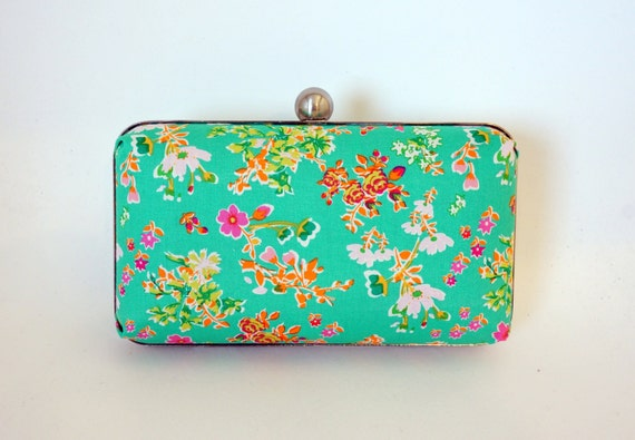 Gorgeous Jade Green Floral Minaudière Box Clutch Purse - Wedding/Bridesmaid Handbag Includes Crossbody Chain - Made to Order