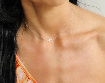 Tiny Sideways Cross Necklace, Kelly Ripa Necklace, Center Cross, Tiny Cross Necklace, Bridesmaid Gift, Bridal Jewelry, Christian Jewelry