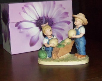 Denim Days #1512 Danny & Debbie Watermellons HOMCO Cer or Porc Figurine1985