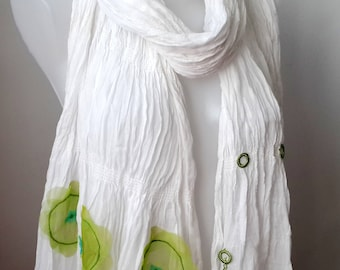 Elibelindeart/Unique store/Design store/Freeshippingstore/Shawl/white cotton shawl/green flowers/green and white/summer shawl/gift for her
