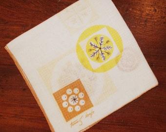 Vintage Tammis Keefe Hankie / Handkerchief:  Wheat Leaves Flowers Dots Yellow Brown