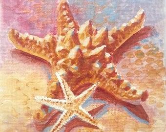 "Sea Star - Starfish Original Painting - mini 4""x4"""