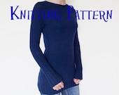 PDF Knitting Pattern - Cable Tunic, Pullover Knitting Pattern, Women's Sweater Pattern, Top Down Raglan Cabled Pullover Knitting Pattern