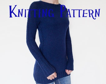 PDF Knitting Pattern - Cable Tunic, Pullover Knitting Pattern, Women's Sweater Pattern, Top Down Raglan Cabled Pullover Knitting Pattern