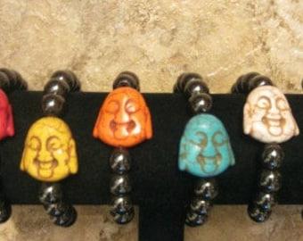 Happy Buddha Bracelet. Hematite Bracelet. Gemstone Bracelet. Good Luck Bracelet. Yoga Jewelry.