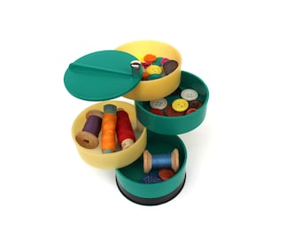 Vintage button organizer Button box Plastic box for buttons Button storage box Sewing tool box Charms storage box Jewelry box Bead Storage
