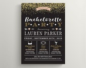 Printable Bachelorette Party Invite, Lingerie Shower Invitation \ Gold glitter with Peach and Black (BR191)
