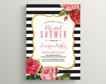 Printable Bridal Shower Invitation - Black and White Stripes with Roses (BR159)