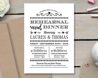 Wedding and Rehearsal Dinner Invitation \ Printable Invite \ Vintage Invite \ Black and White Invite  (RD79)