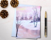 Holiday cards winter wonderland nature lover nature christmas card river painting glittered card winter outdoors christmas card