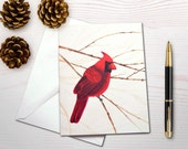 Christmas card holiday card cardinal christmas cardinal painting bird lover notecard personal stationery set cardinal gift set gift