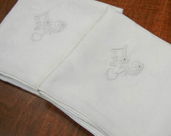 2 vintage damask linen napkins - very large - white with A embroidered initial