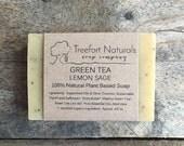 Green Tea Lemon Sage & Aloe Soap - Handmade Cold Process, Organic, All Natural, lightly scented, vegan