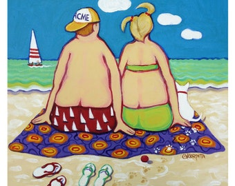 Happy Beach Painting, Couple on Beach, Colorful Beach Folk Art, Couple Dog Beach, Coastal Art, Seashore, Happy Art, 10x10 Original - Korpita
