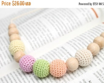 SALE 25% off Pastel Rainbow nursing necklace - Baby teething toy - Mothers Day Gift