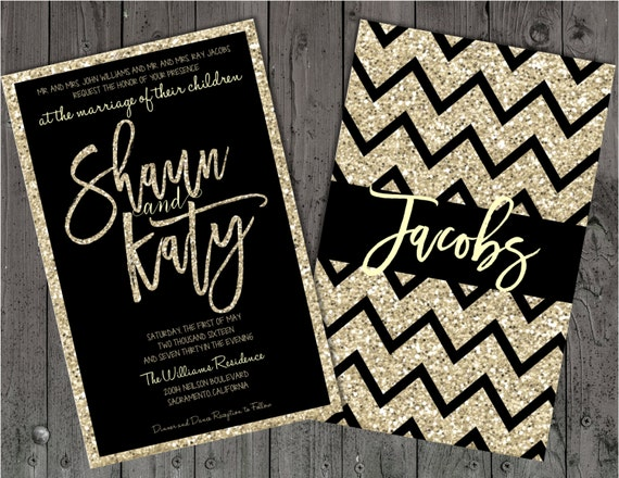 Black And Silver Wedding Invitations: Black And Champagne Wedding Invitations Black And Silver