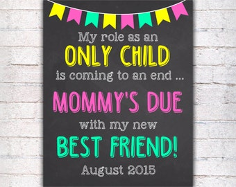 Pregnancy Announcement Chalkboard Poster Printable, Role as an Only Child Coming to an End Pregnancy Reveal, Sign DIGITAL FILE  - 015