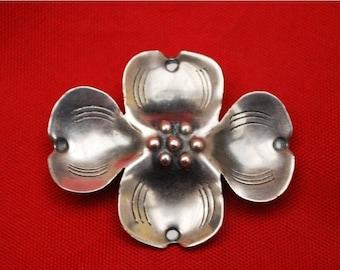 Dogwood flower Brooch Sterling Silver Handmade