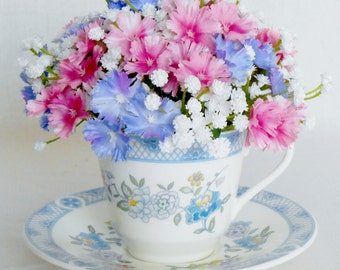 Teacup Silk Flower Arrangement, Tiny Pink & Blue Flowers, White Gypsophila Spray,Vintage 1973 Teacup and Saucer, Silk Flower Arrangement,