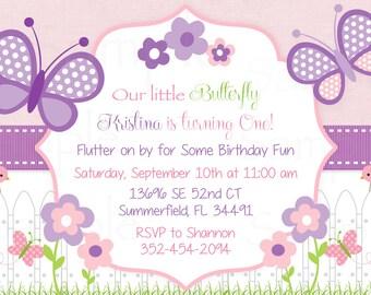 Girls First Birthday Pink Butterfly Flower Garden Birthday Invitation - Printable File