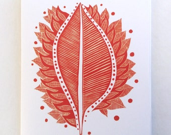 art card - BURNING LEAF / blank greeting card, stationary / red leaf linocut / autumn leaves / 5x7 art / nature art print
