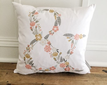 Floral Ampersand Pillow Cover