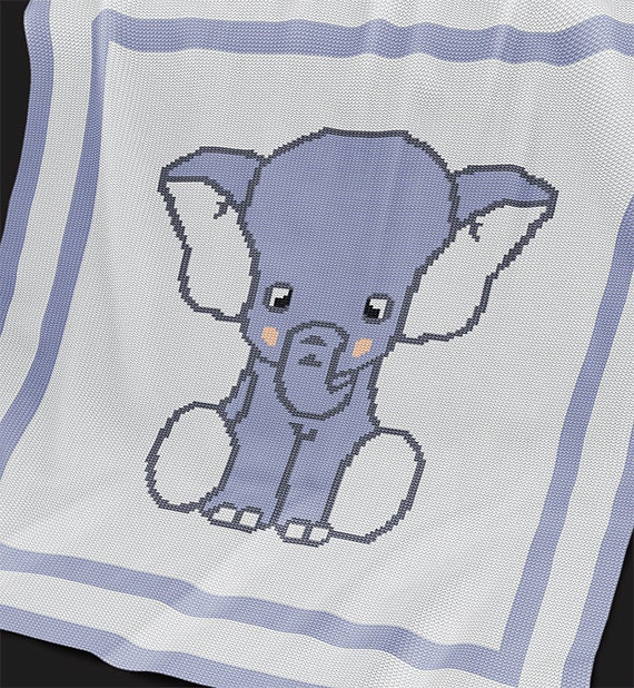 Knitting Pattern For Baby Elephant : KNITTING Pattern Elephant Baby Blanket Baby Afghan